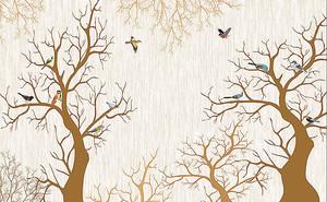 Птицы в ветвях деревьев