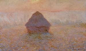 Моне Клод. Стог сена, Солнце в тумане, 1891