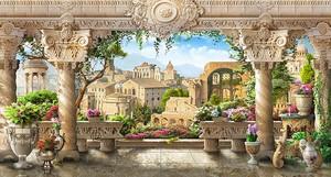 Вид на красивую террасу и город