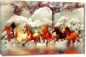 Лошади на фоне резного камня