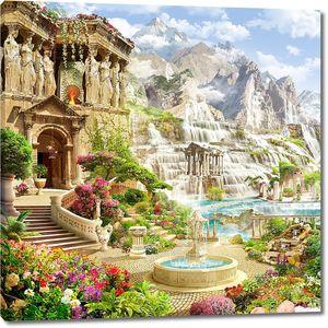 Невероятный пейзаж с замком и водопадом