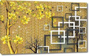 Золотая кирпичная стена, белые и темно-серые квадратные рамки