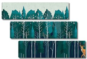 Олень на фоне строя деревьев