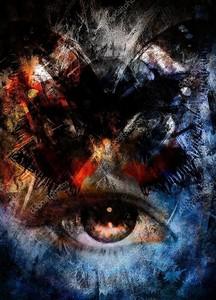 Иллюстрация бабочка и женщина глаза, смешанные средние, абстрактный цвет фона