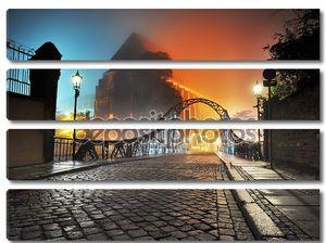 Прекрасный вид на Старый город мост ночью