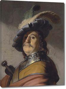 Рембрандт. Портрет мужчины в берете с пером