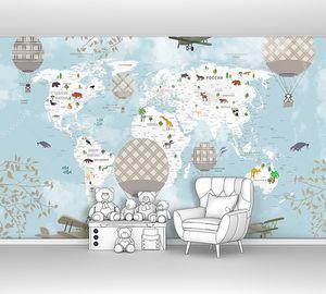 Клетчатые шары на фоне карты мира