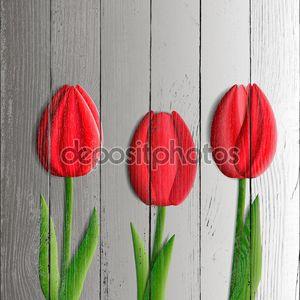 Дизайн-элементы - набор красных тюльпанов цветы 3d.