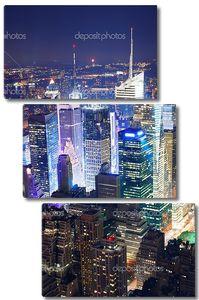 Таймс Сквер вид с воздуха ночью