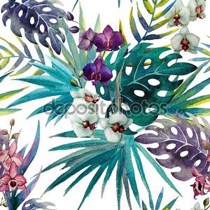 гибискус орхидеи образца оставляет акварельные тропики