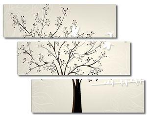 Темное дерево с белыми птичками
