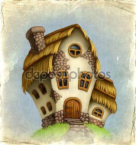 Старая карта с сказочный домик