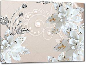 Большие белые позолоченные цветы