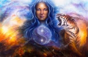 Богиня Лада с  цаплей и ревущим тигром