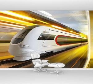 Супер обтекаемый поезда в туннеле