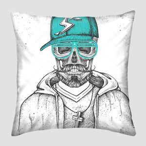 Ручной рисунок черепа хипстера с кепкой, одетой как рэппер на фоне гранжа. Хипстерский стиль