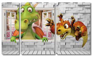 Смешные динозавры в окне