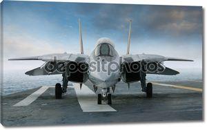 Реактивный истребитель F-14 на палубе авианосца, с фронта