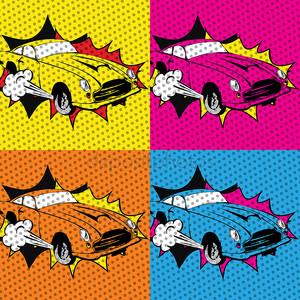 Поп-арт красочных машин