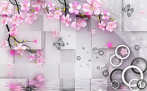 Сакура на фоне кубов и кругов