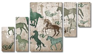 Лошади на старой стене