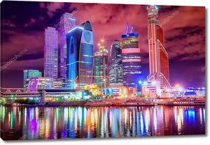Небоскрёбы в финансовом районе Москвы ночью