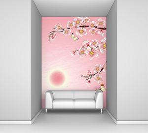 Сакура с розовой луной