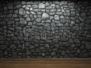 освещенная каменная стена