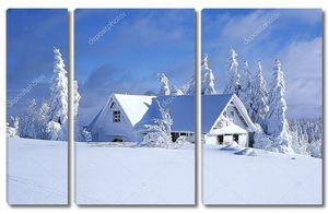 Коттедж зимой, orlicke hory, Чешская Республика