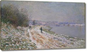 Моне Клод. Буксировочный путь в Аржантее, зима, 1875