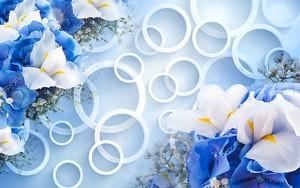 Светло голубой фон, белые кольца, синие и белые цветы
