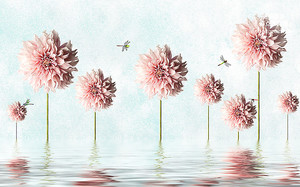 Георгины со стрекозами из воды