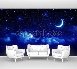 звездное небо с Хаф-Мун в живописном cloudscape