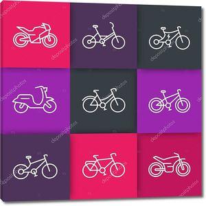 Велосипеды линия иконы, Велоспорт, велосипед, мотоцикл, мотоцикл, велосипед жира, скутер, ретро велосипеде, Электрический велосипед, иконы на цветные квадраты, векторные иллюстрации