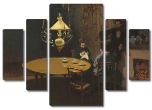 Моне Клод. Интерьер, после ужина, 1868-69