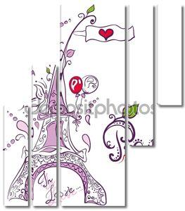 Каракули творческие Эйфелевой башни в Париже