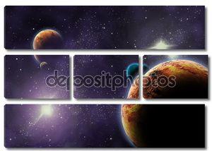 Планеты в глубокий темный пространстве. Абстрактный рисунок Вселенной.