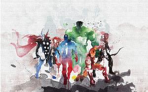 Супергерои. Акварель