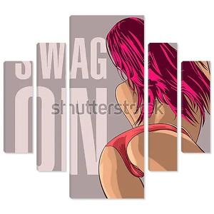 Вид сзади на девушку с розовыми волосами