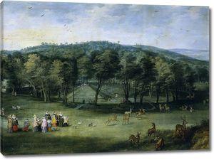 Ян Брейгель (Старший) и Йос де Момпер. Инфанта Изабелла Клара Евгения в парке Маримонт