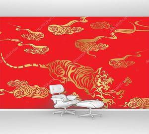 Восточный тигр золотого цвета