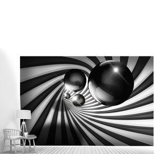 Металлические шары в полосатом туннеле