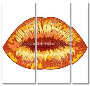 Рисованные сексуальные губы. EPS