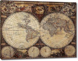 Старинная карта обоих полушарий