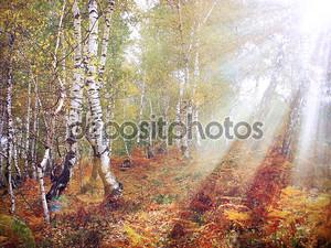 Осенний лес пастель