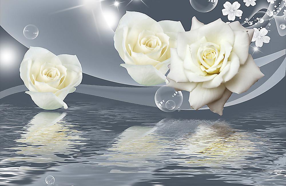 Фотообои «Розы. Отражение в воде», купить в интернет-магазине «Первое Ателье»™