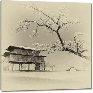 Деревенский китайский пейзаж