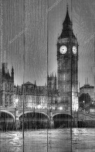 черно-белые Фото Биг Бен, Лондон, Соединенное Королевство