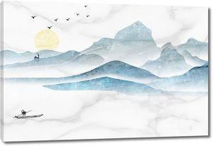 Горы и озеро на мраморе
