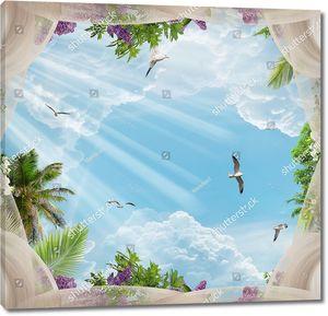 Небо с птицами и легкой тюлью
